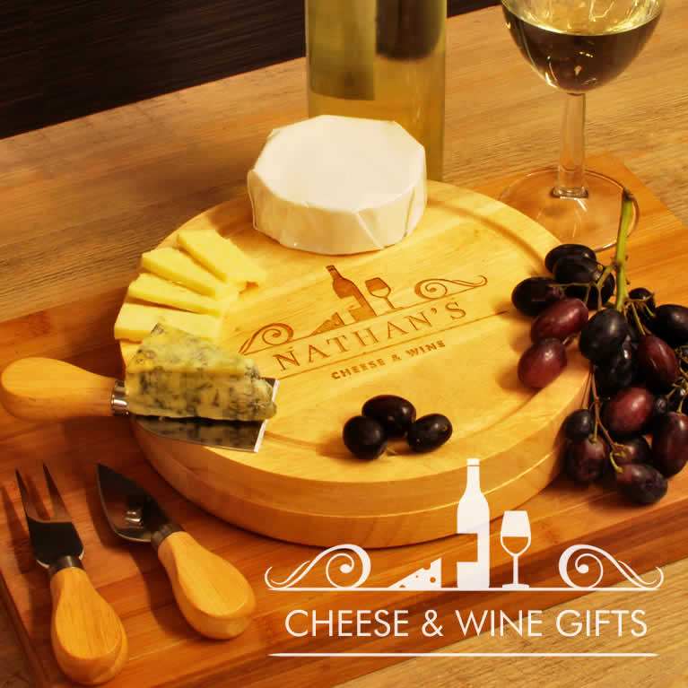 Personalised Cheeseboards And Wine Gifts