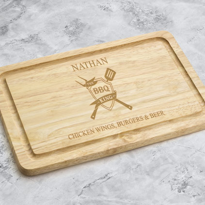 Personalised Wooden Chopping Board - The BBQ King Crest