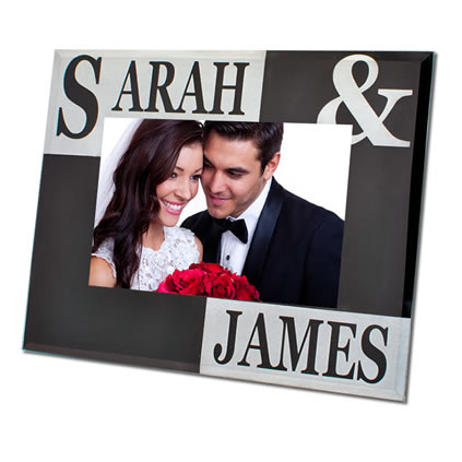 Personalised Black And Silver Glass Photo Frame