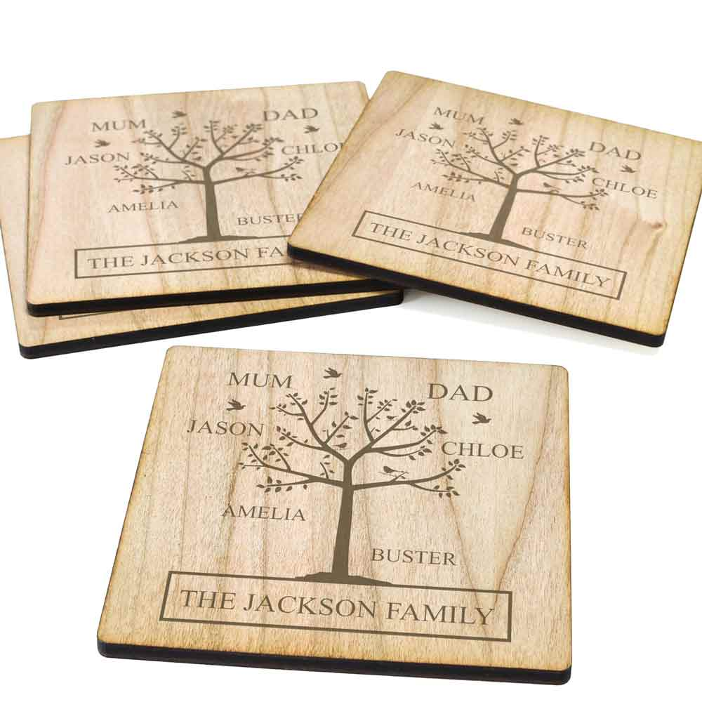 Personalised Family Tree Wooden Coaster Set - Click Image to Close