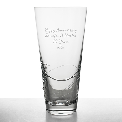 Personalised Engraved Large Conical Modern Cut Pattern Vase Retirement Thank You