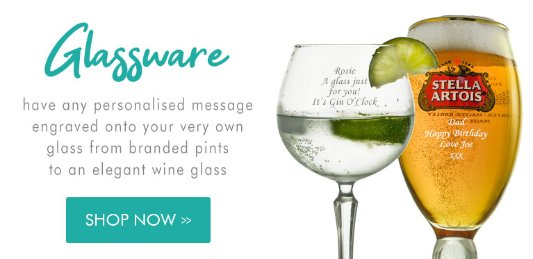 Engraved Glass Including Beer Glasses, Wine Glasses And Personalised Gin Glassware