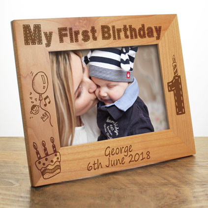 Personalised Black And Silver Engraved Photo Frame