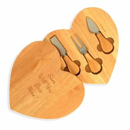 Personalised Heart Shaped Wooden Cheese Board Set