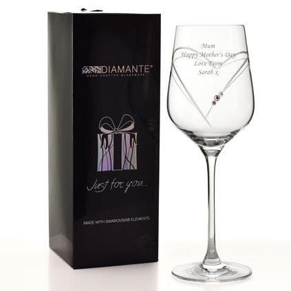 Engraved Heart Wine Glass With Swarovski Crystal Elements
