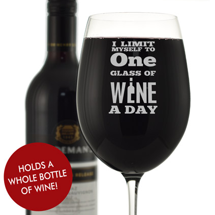 I Limit Myself To One Glass A Day Personalised Wine Glass