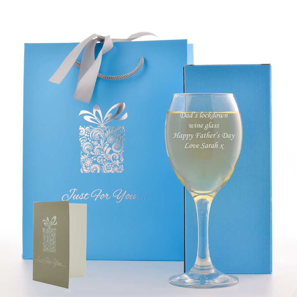 Engraved Wine Glass With Luxury Gift Bag And Box