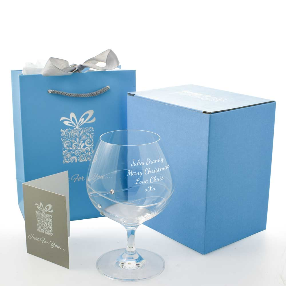 Engraved Brandy Glass With Swarovski Crystal Elements