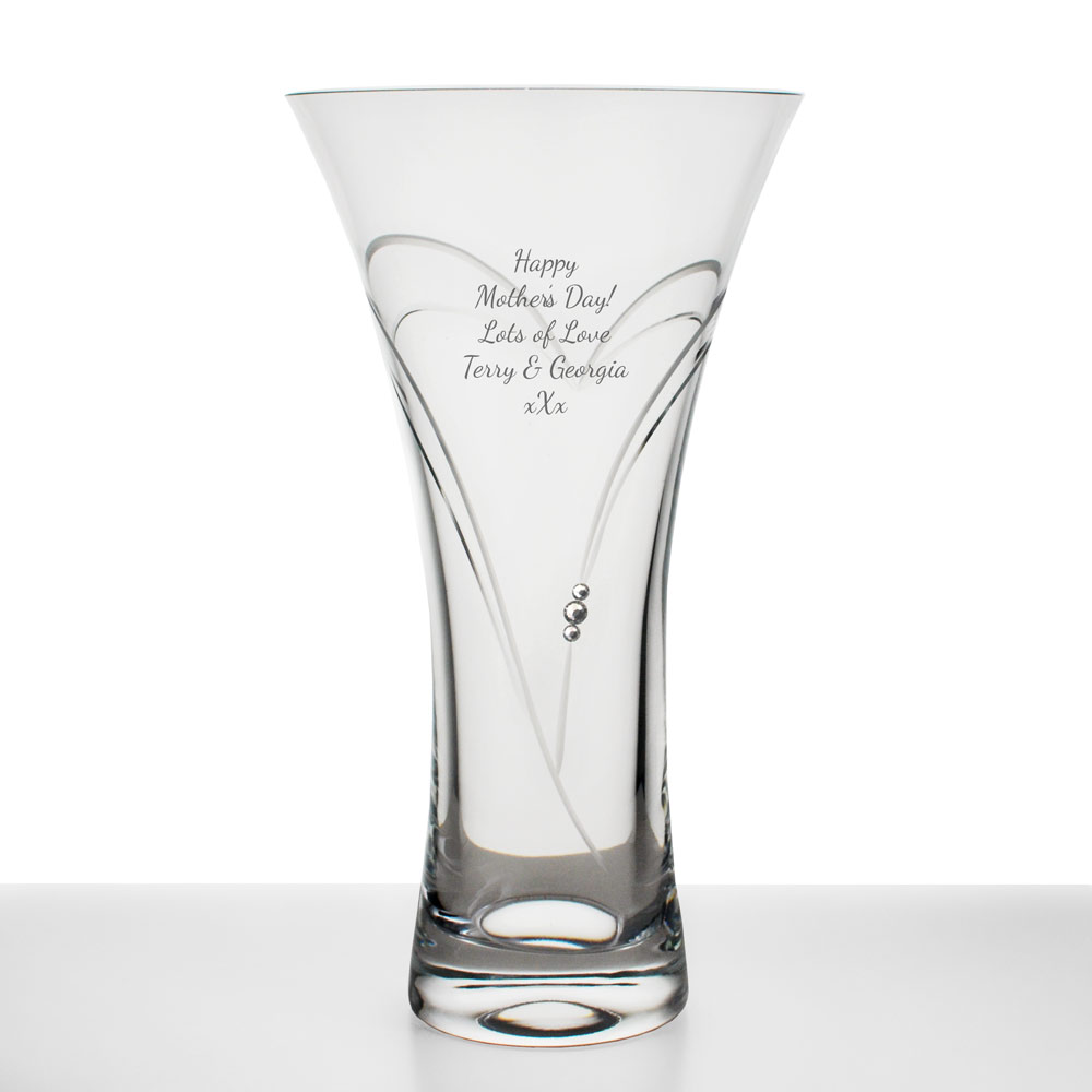 Personalised Swarovski Crystal Heart Vase Engraved By