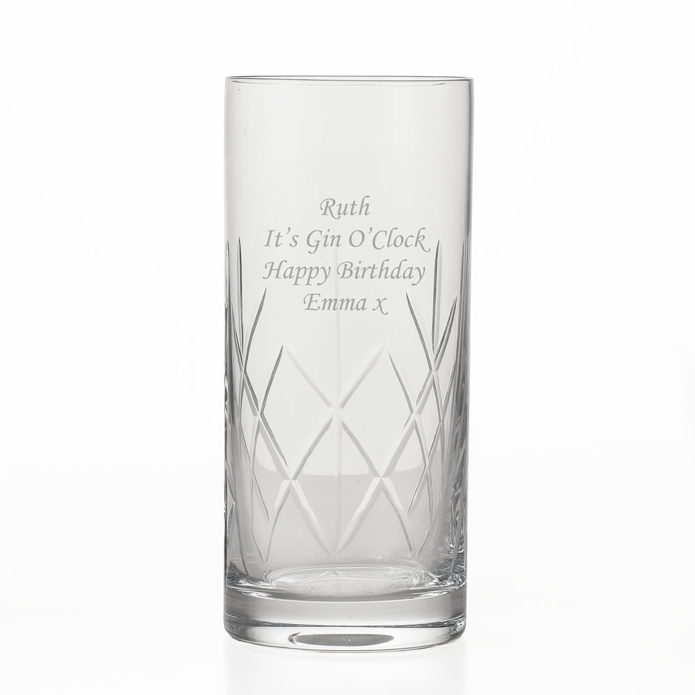 Engraved Crystal Highball Glass - Click Image to Close