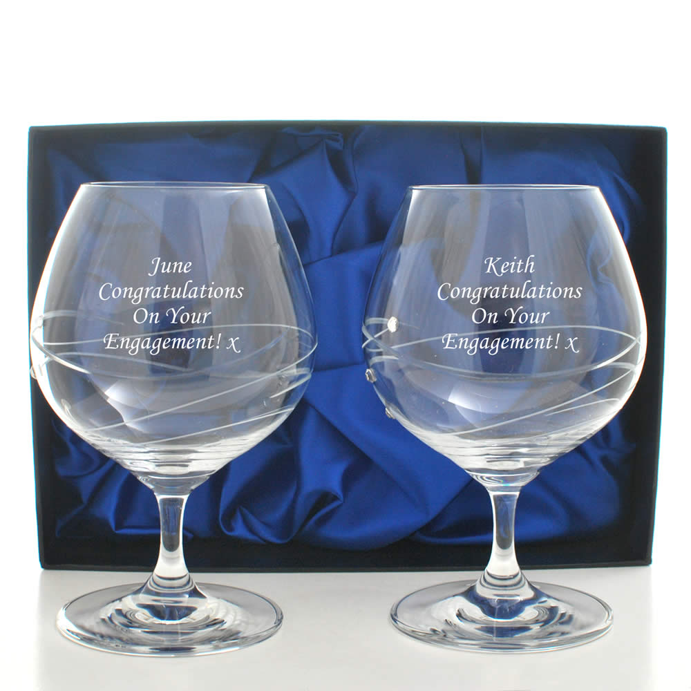 Personalised Brandy Glass Set With Swarovski Elements - Click Image to Close