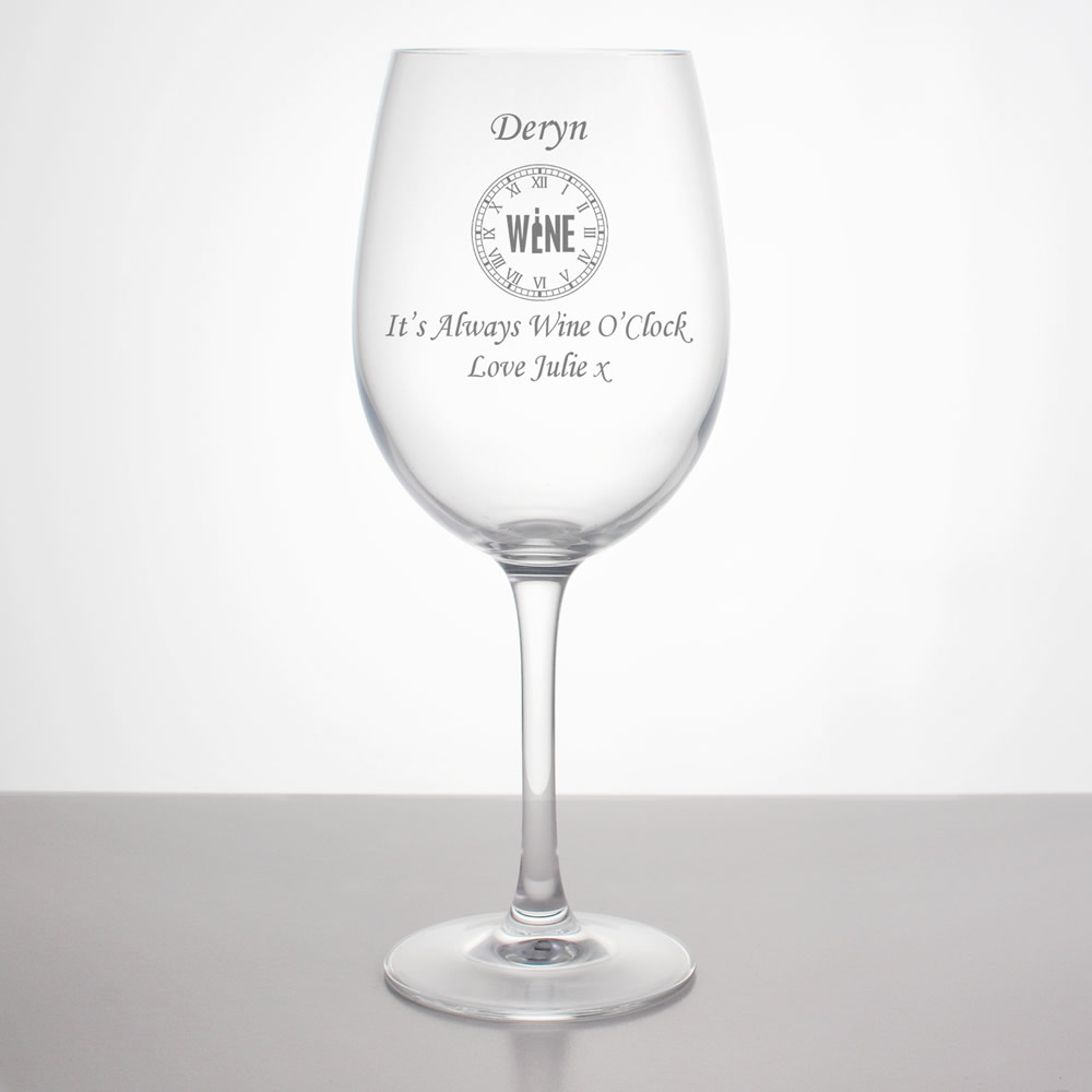 wine o clock personalised wine glass