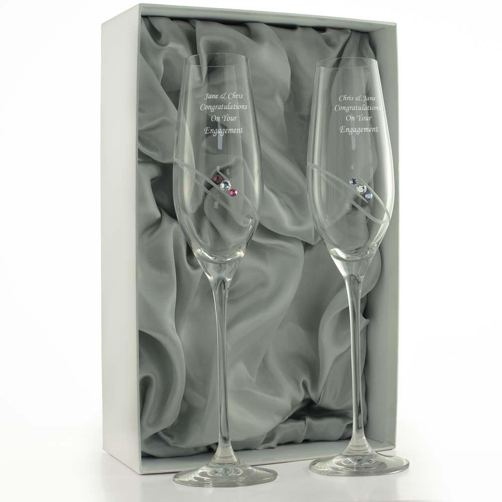 Personalised Swarovski Champagne Flutes With Lilac And