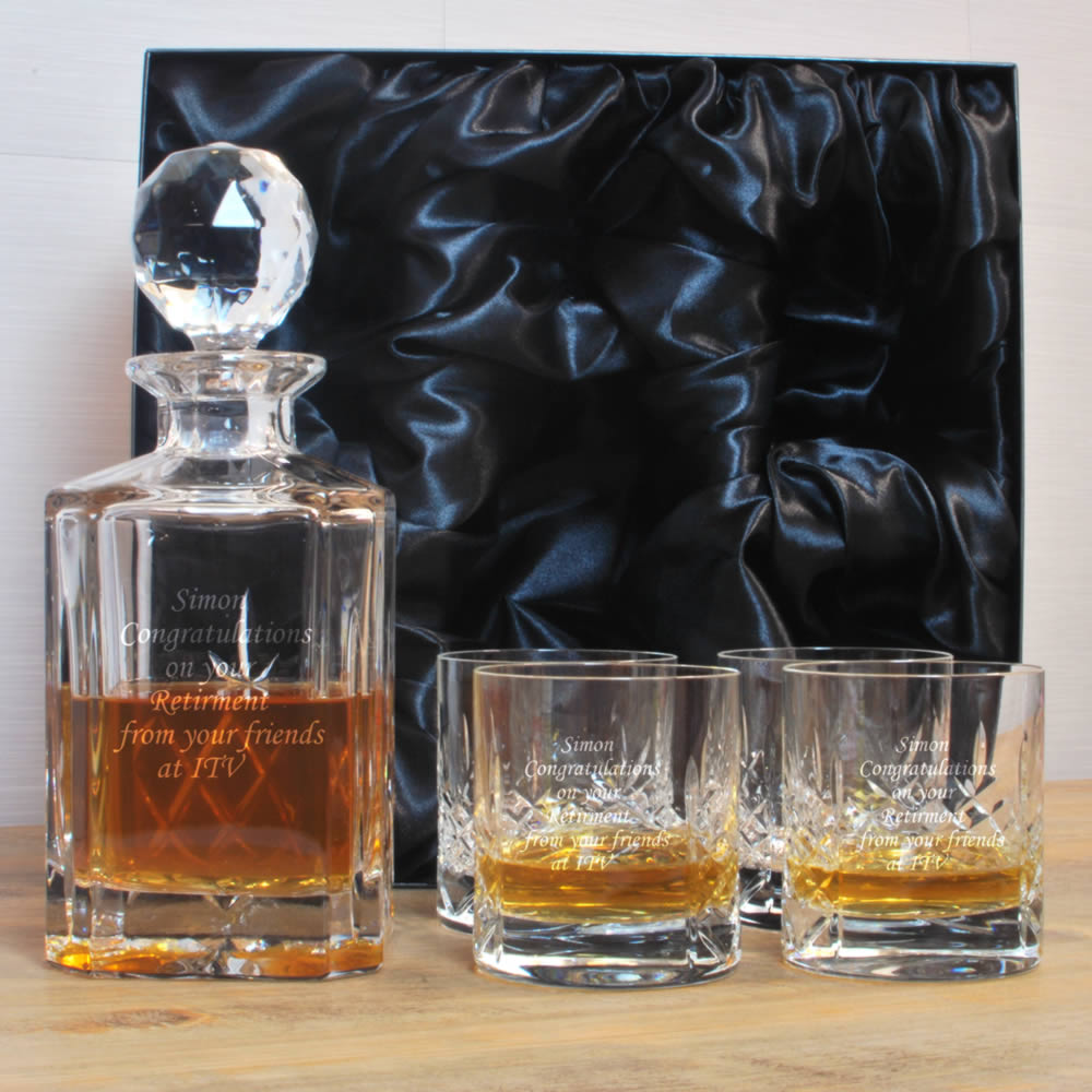 Personalised 24 Lead Crystal Heavyweight Mayfair Decanter Set