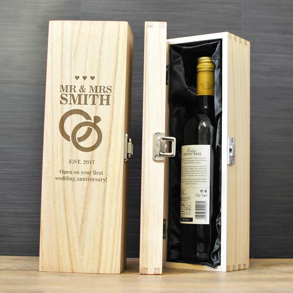 Mr Mrs Personalised Wine Box