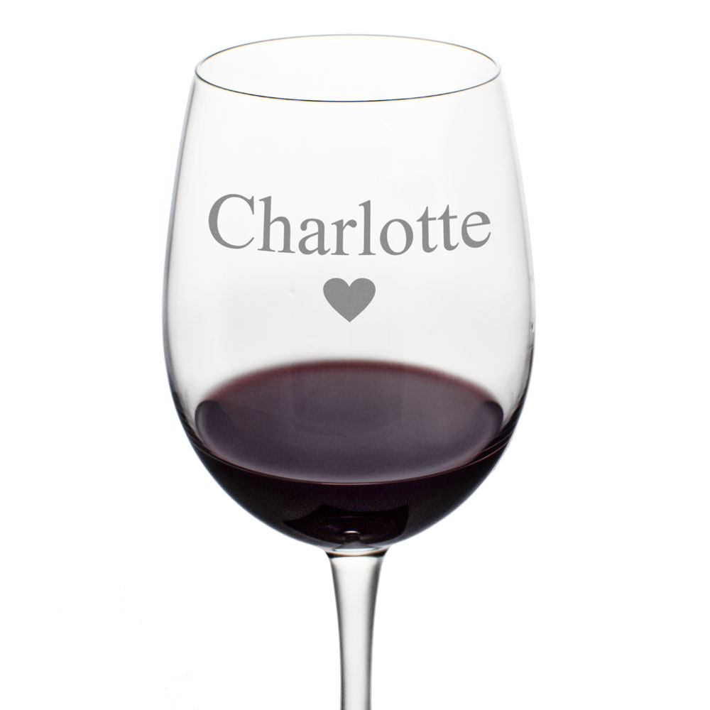 Personalised Love Hearts Wine Glass - Click Image to Close