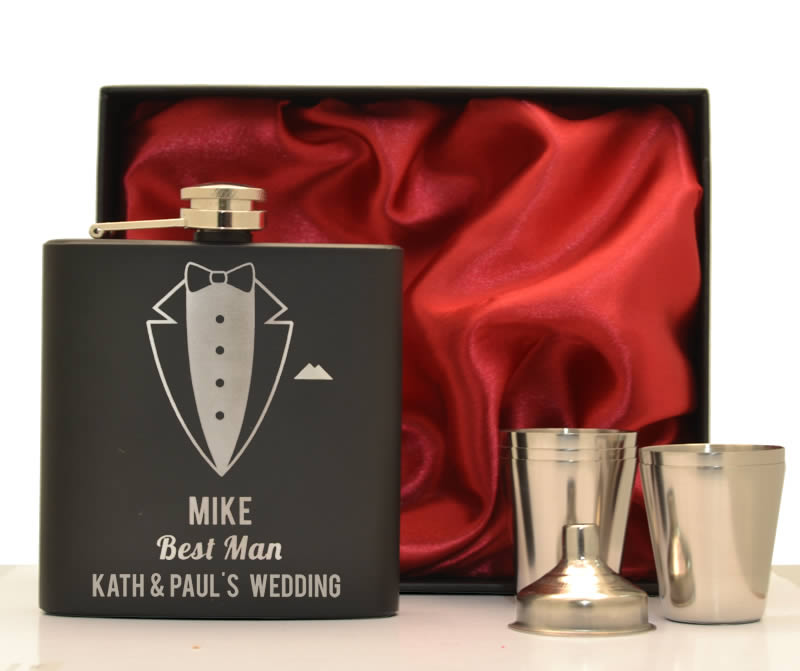 Black Personalised Special Occasion Hip Flask Set - Click Image to Close