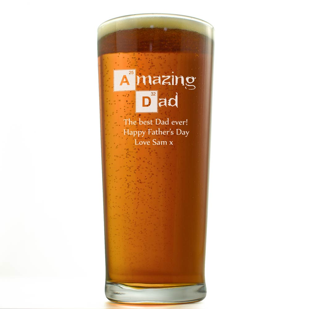 Amazing Dad Personalised Pint Glass - Click Image to Close