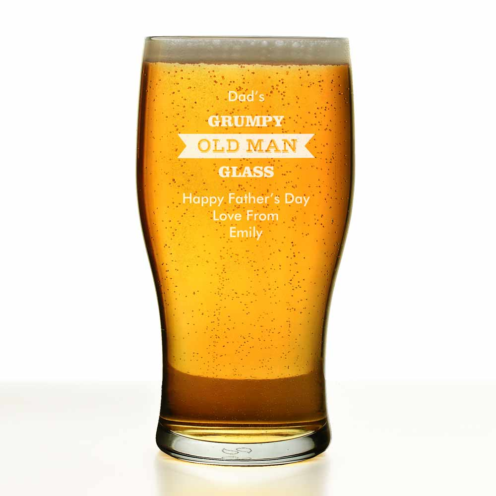 Personalised Grumpy Old Man Tulip Pint Glass 10714 163 8