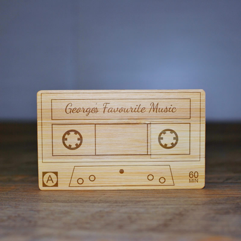Personalised 8 GB Wooden USB Memory Stick - Cassette Tape - Click Image to Close