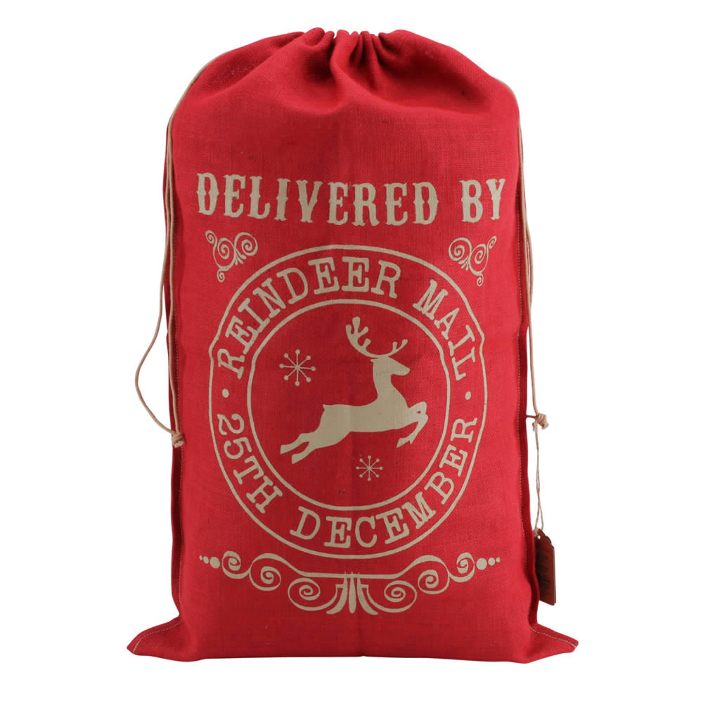 8b9894e8a20 Personalised Red Hessian Christmas Sack - Delivered By Reindeer Mail · Zoom