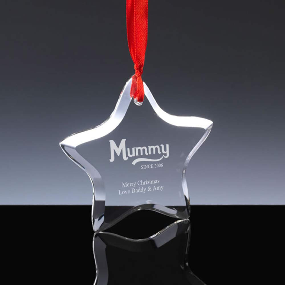 Personalised Mummy Since Star Bauble