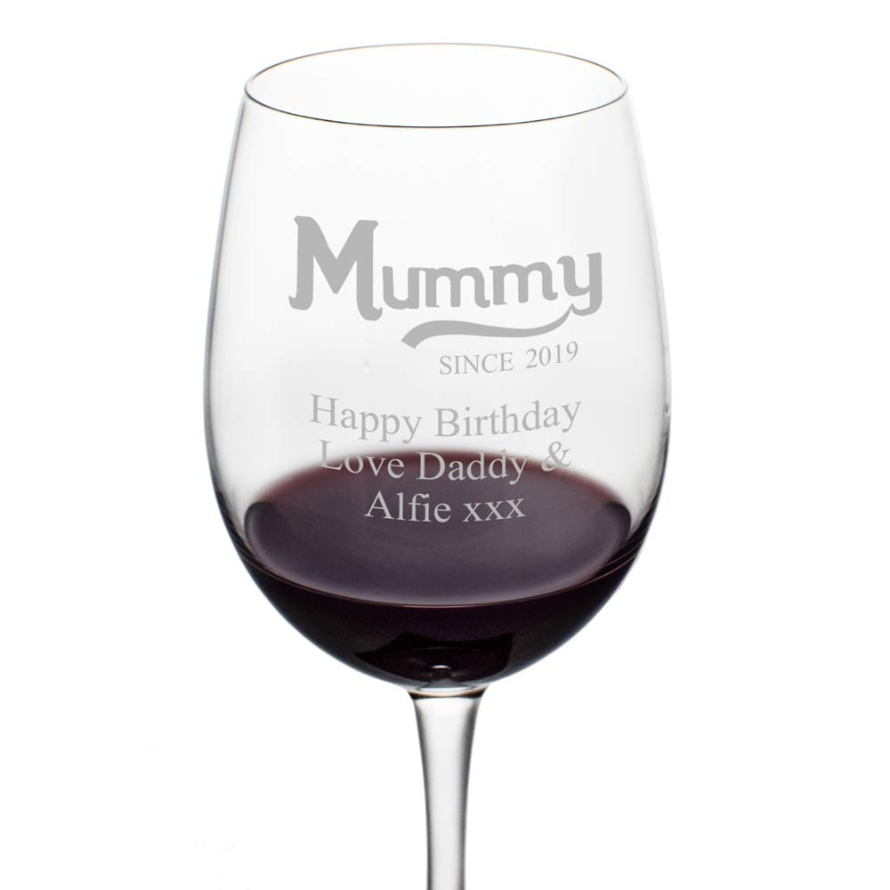 Personalised Mummy Since Wine Glass
