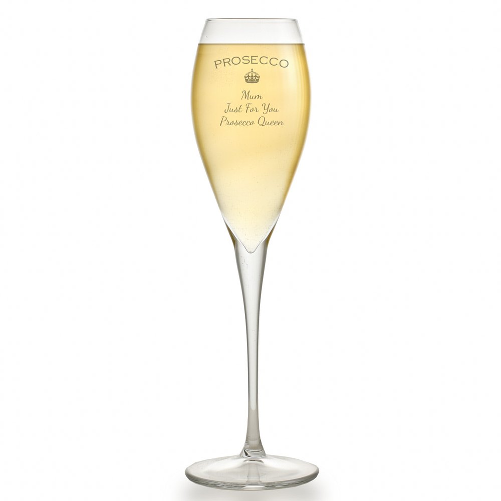 Personalised prosecco glass flute - Fluted wine glasses ...