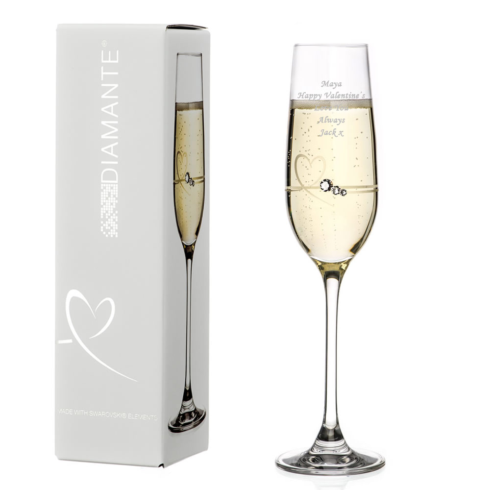 Personalised Single Petite Heart Flute With Swarovski Elements - Click Image to Close