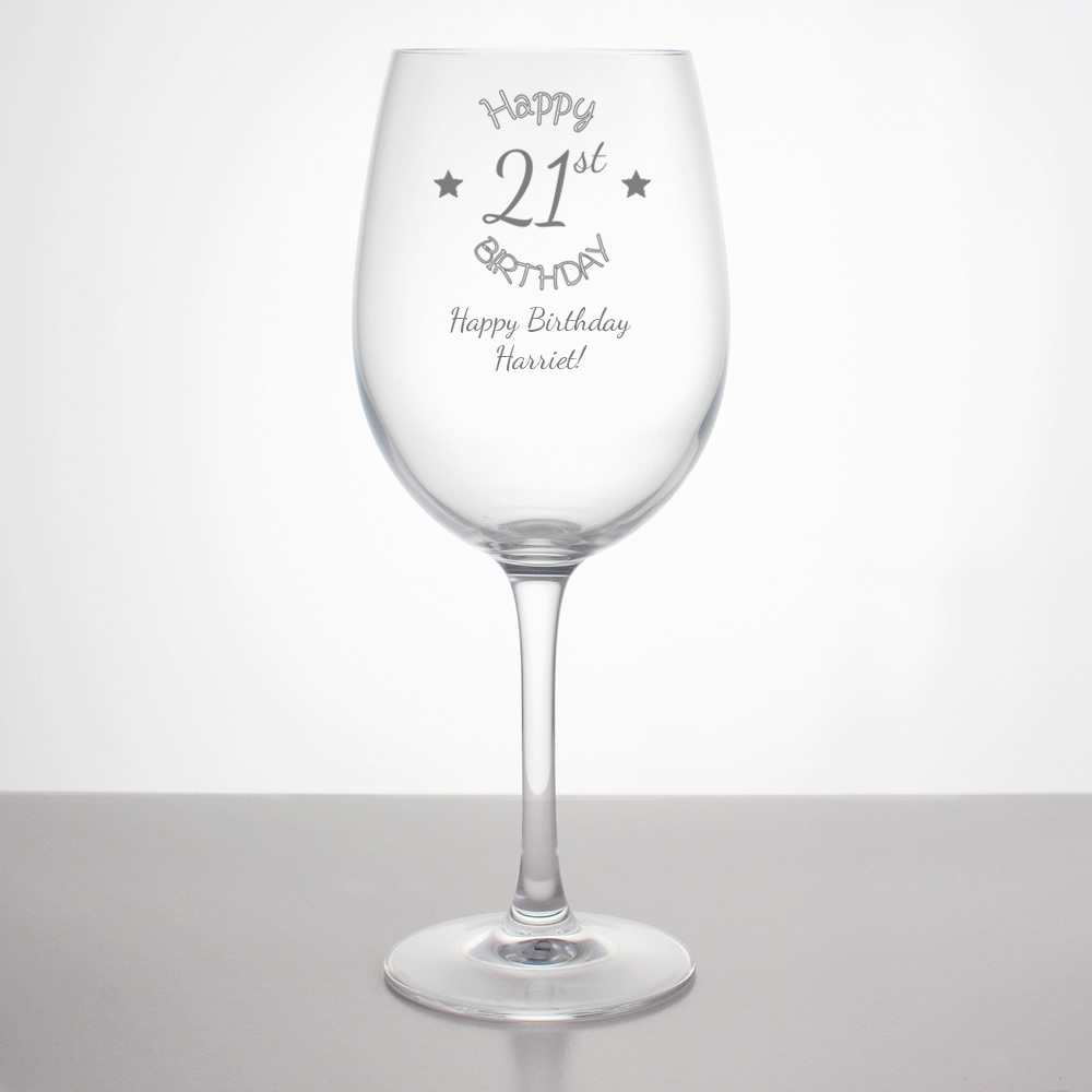 Personalised 21st Birthday Wine Glass