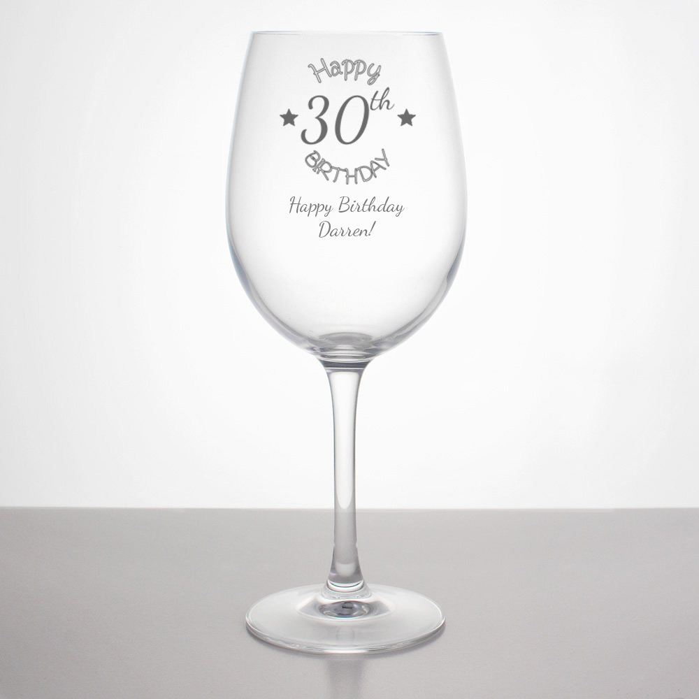 Personalised 30th Birthday Wine Glass