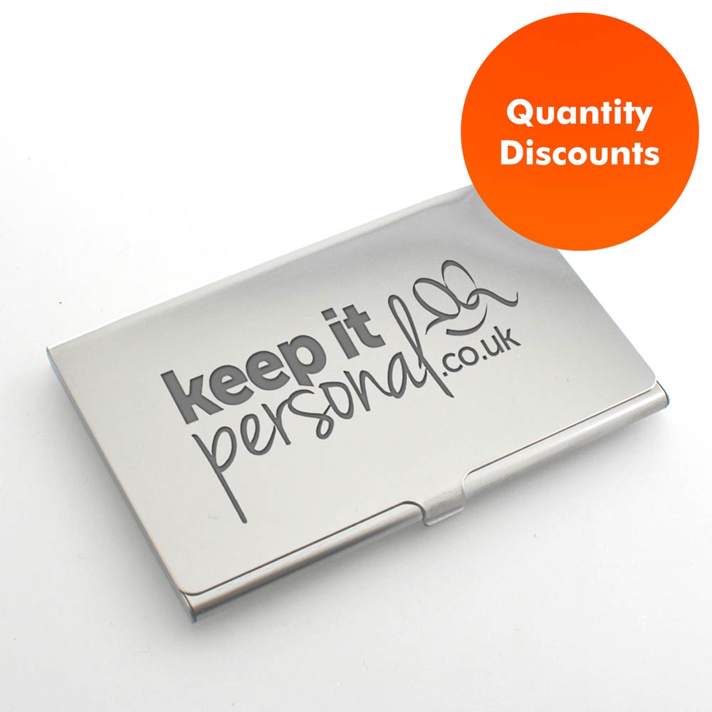 Logo engraved personalised business card holder reheart Images