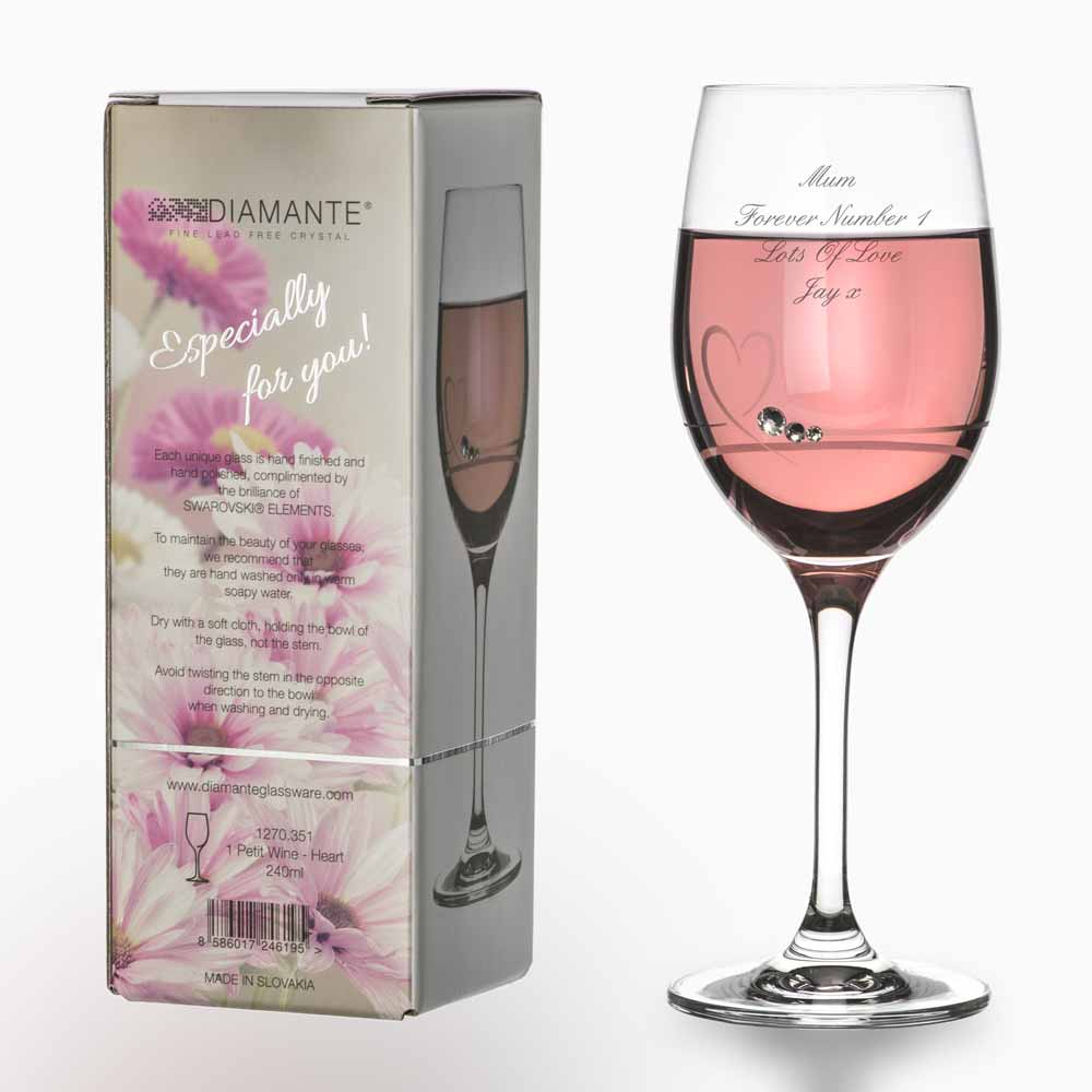 Personalised Pink Wine Glass With
