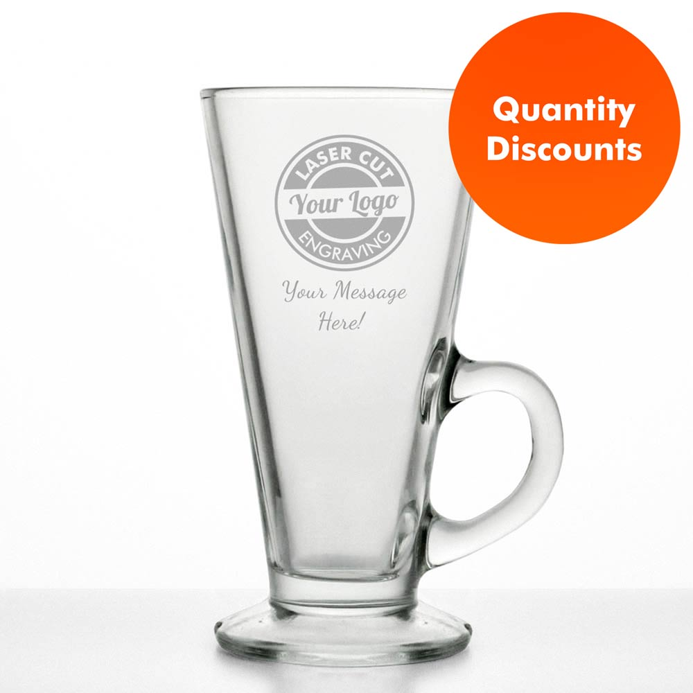 Logo Engraved Personalised Latte Glass