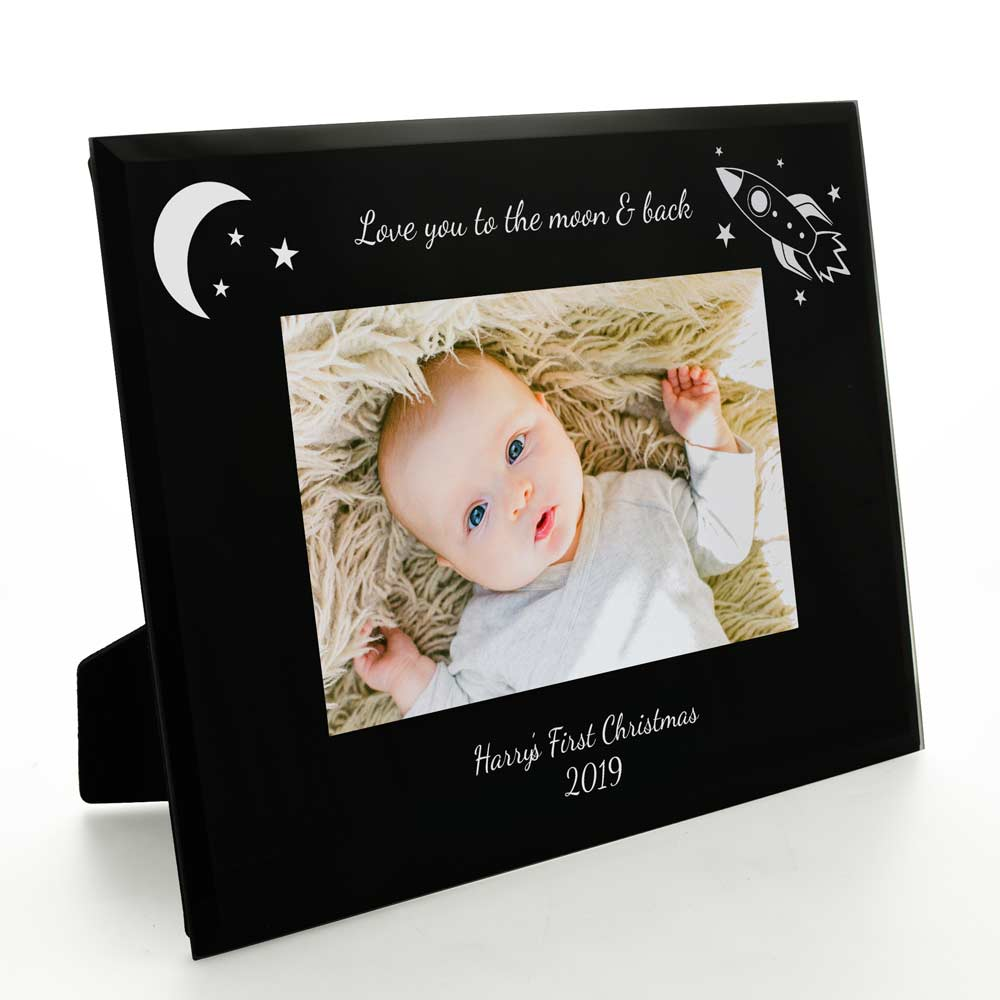 Personalised Love You To The Moon And Back Black Glass Frame