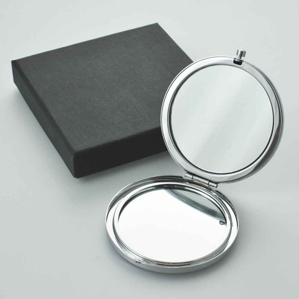 Personalised Round Compact Mirror With Gift Box