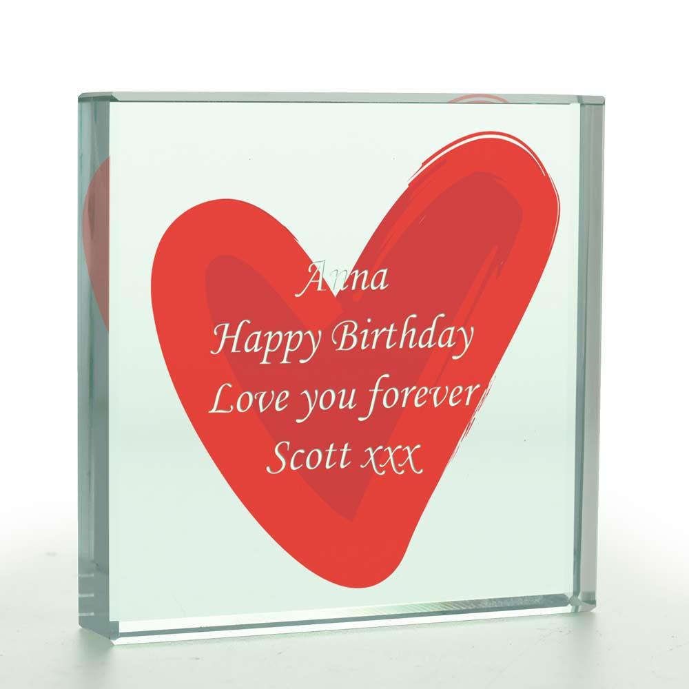 Personalised Love Heart Glass Token