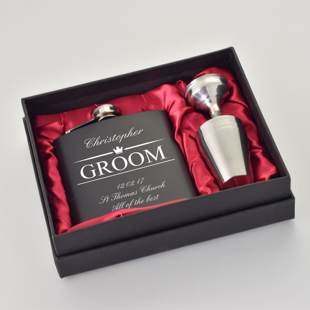 Personalised Wedding Gifts For The Groom Hip Flask Set