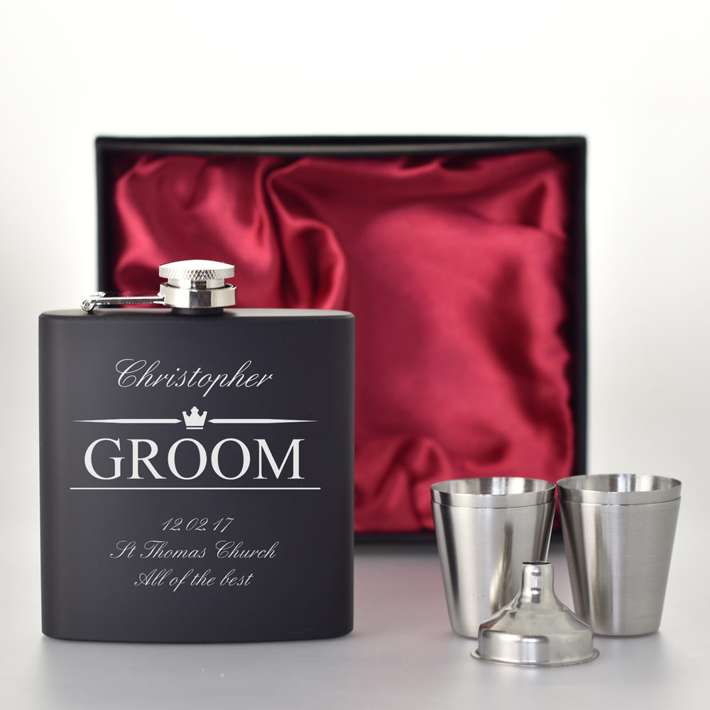Home Weddings Gifts For Bride And Groom Personalised Black Hip Flask ...