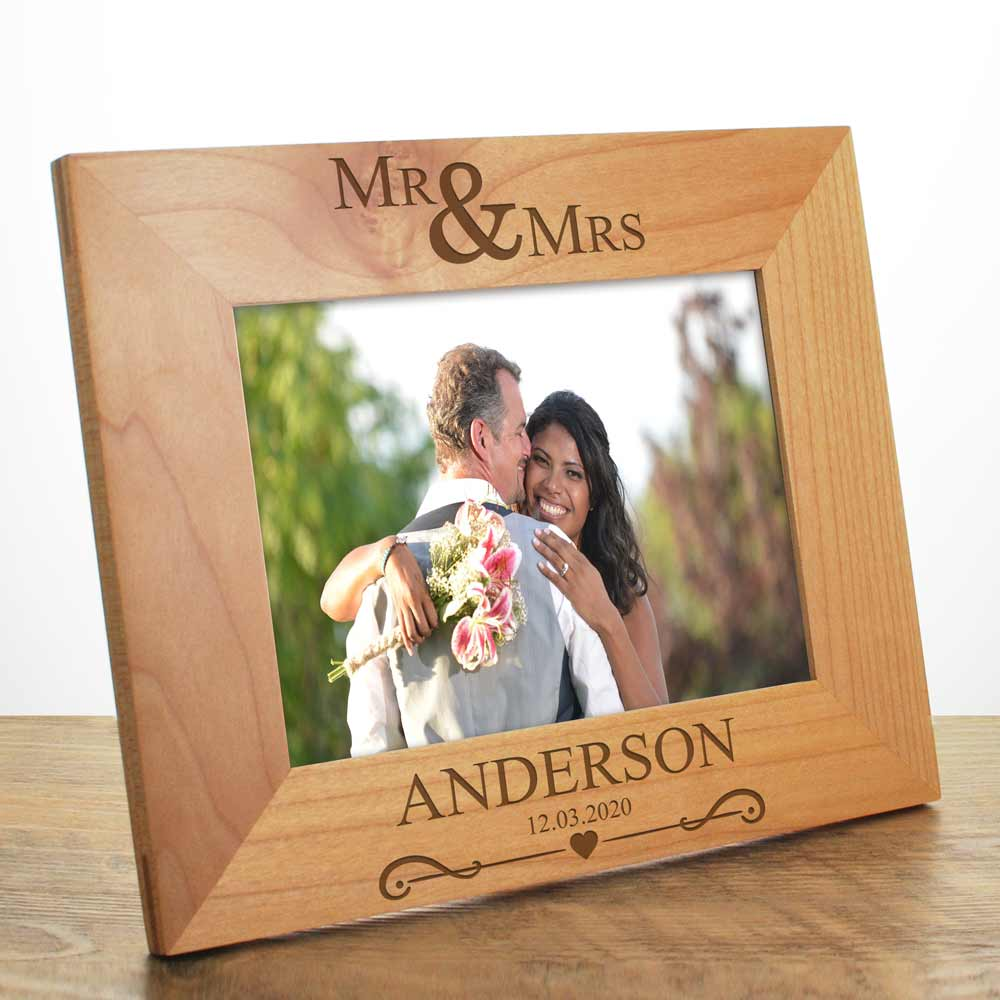 Mr And Mrs Personalised Wooden Frame