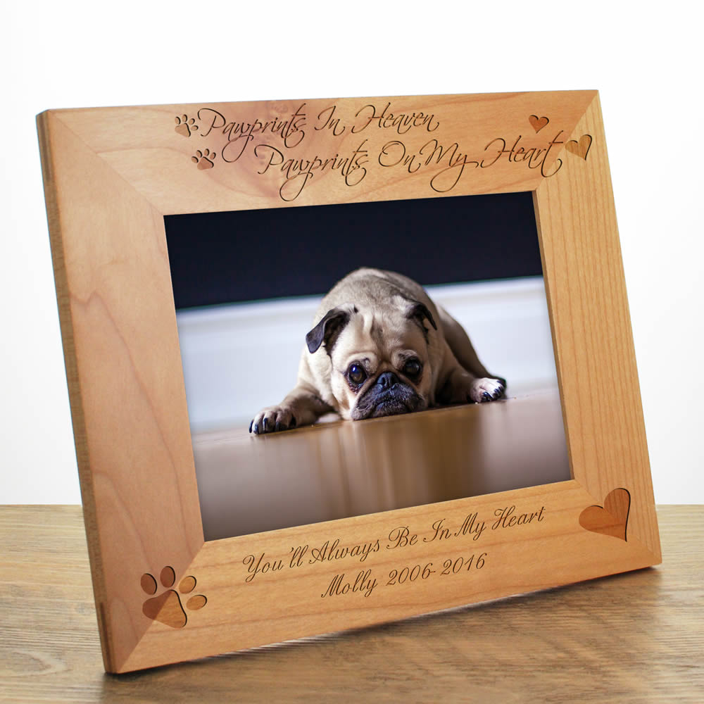 Personalised 'Pawprints In Heaven' Maple Photo Frame - Click Image to Close
