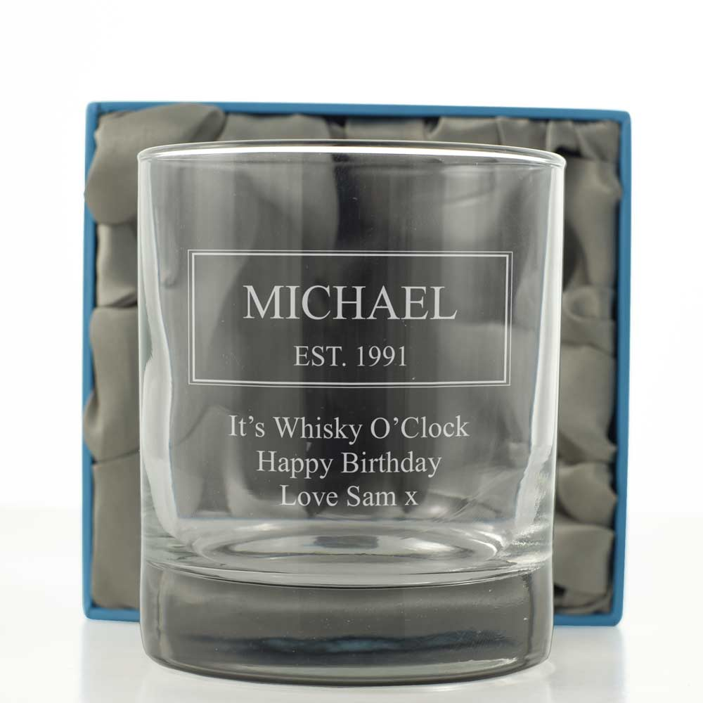 Personalised Established Whiskey Tumbler - Click Image to Close