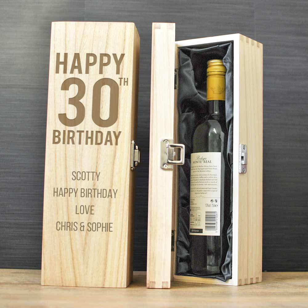 Personalised 30th Birthday Gift Wooden Wine Box