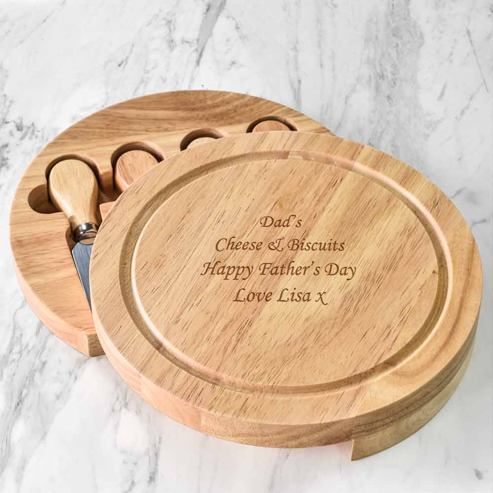 Personalised Engraved Wooden Cheeseboard Set - Click Image to Close