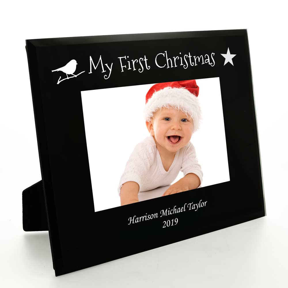 Personalised My First Christmas Black Glass Frame