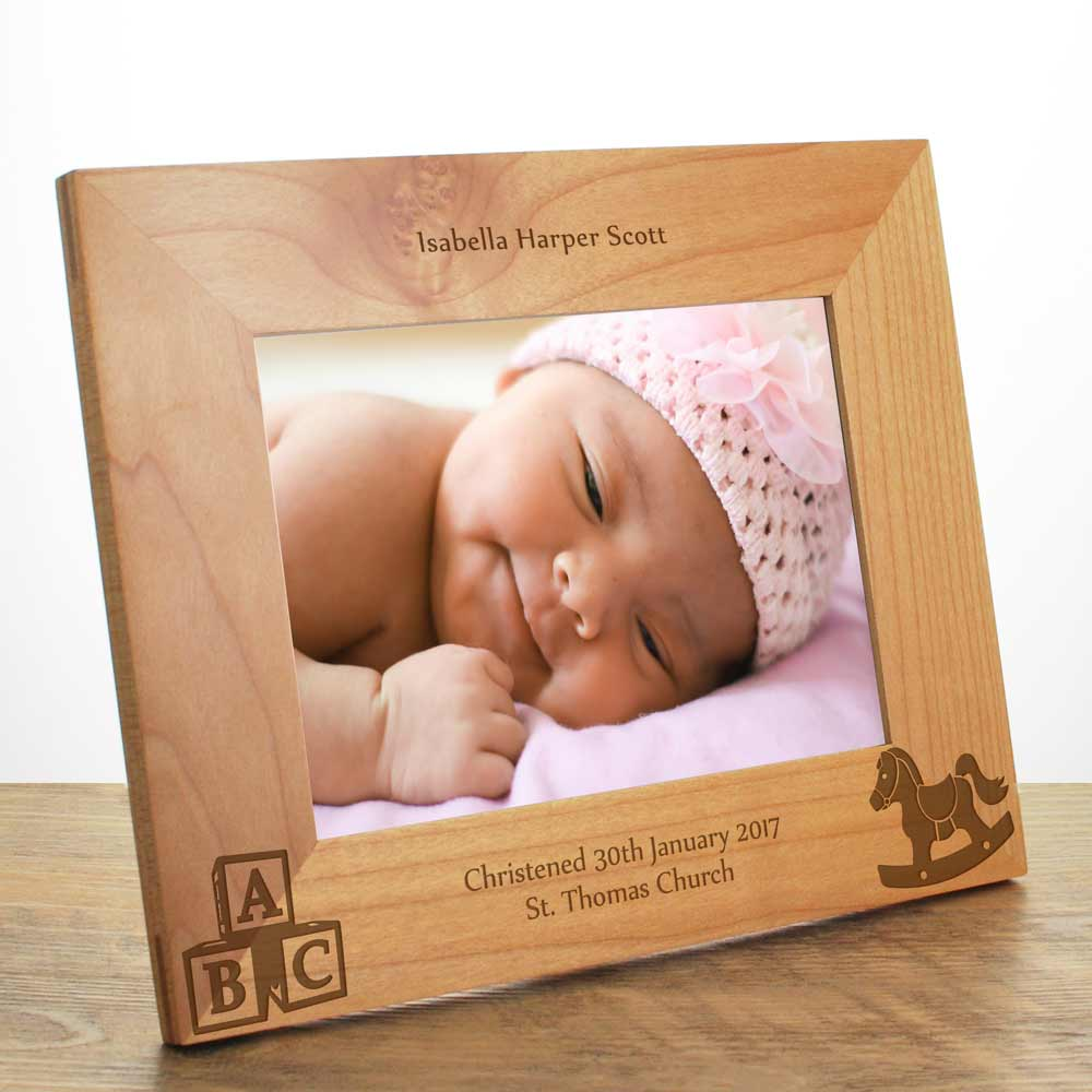 Personalised Christening Wooden Photo Frame - Click Image to Close