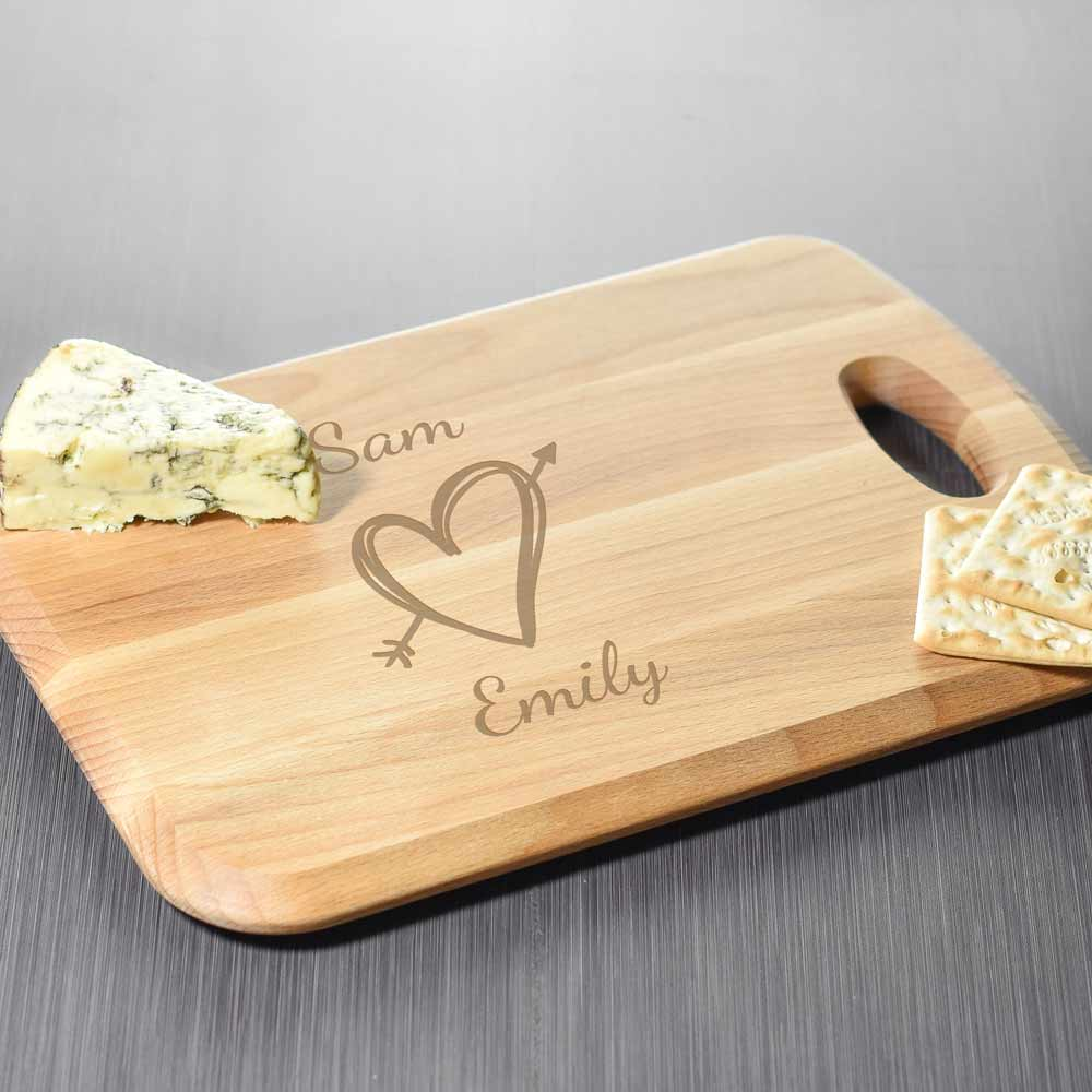 Personalised Beech Wood Chopping Board For Couples - Click Image to Close