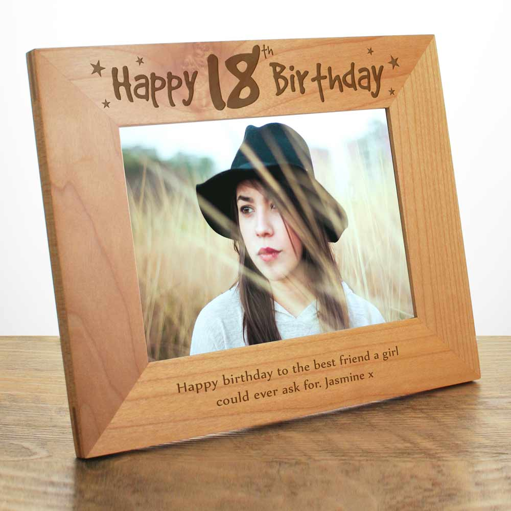 Personalised Wooden Photo Frame Happy 18th Birthday