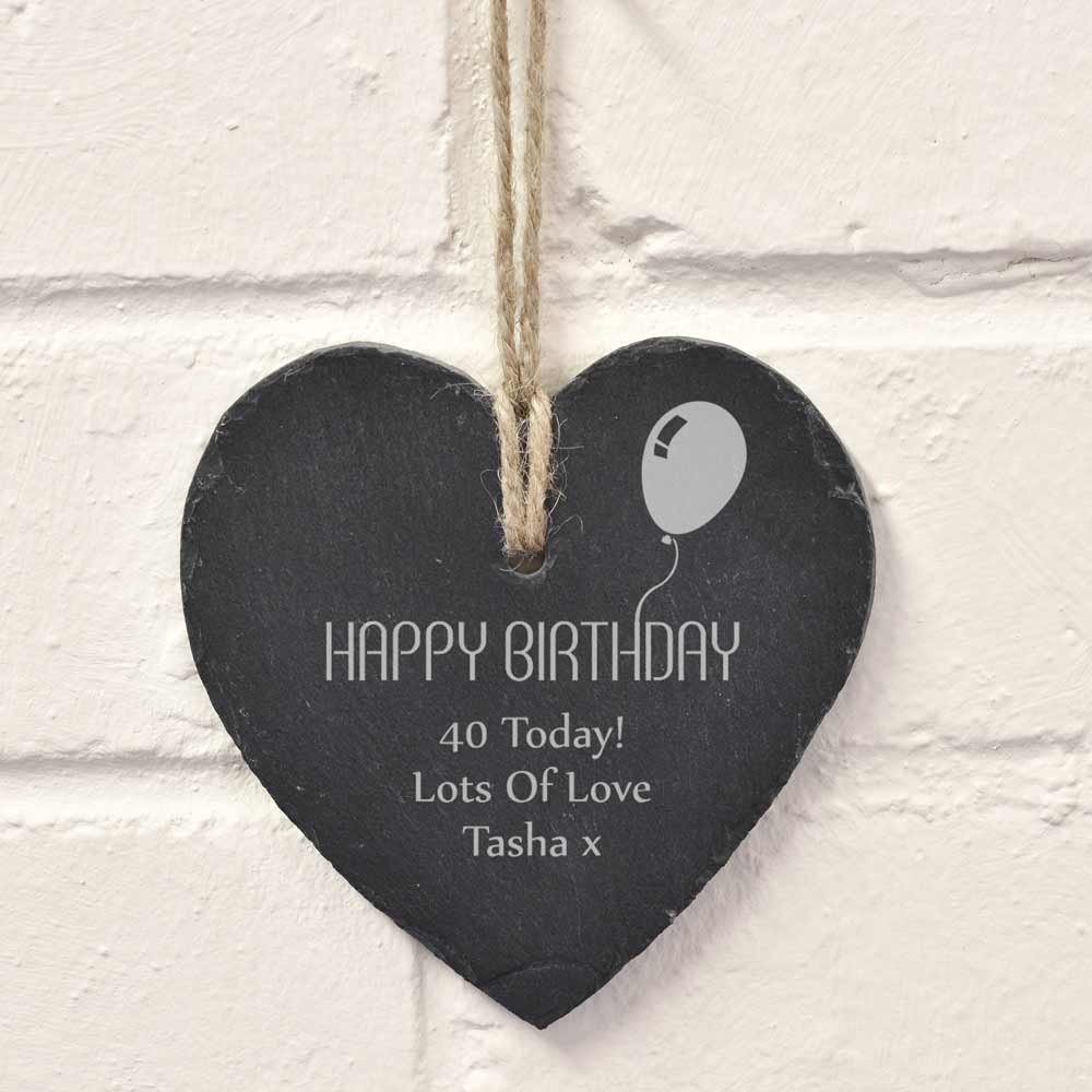 Personalised Hanging Slate Heart - Happy Birthday - Click Image to Close