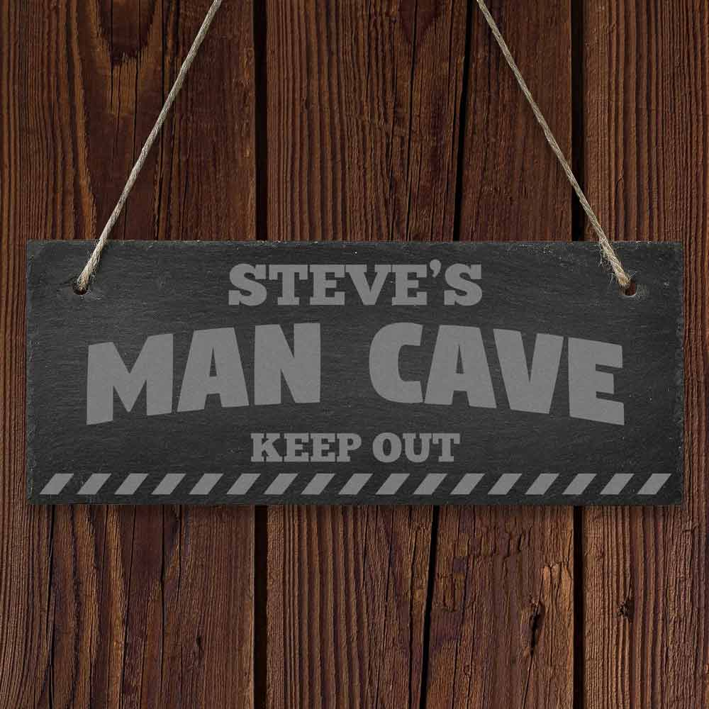 Engraved Man Cave Signs : Personalised hanging slate man cave sign